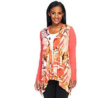 Joan Rivers Floral Print Drape Front Cardigan with Long Sleeves