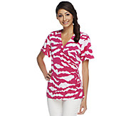 Susan Graver Liquid Knit Surplice Wrap Printed Top - A253590