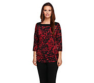 Susan Graver Printed Liquid Knit 3/4 Sleeve Top w/ Ruched Sides - A257090