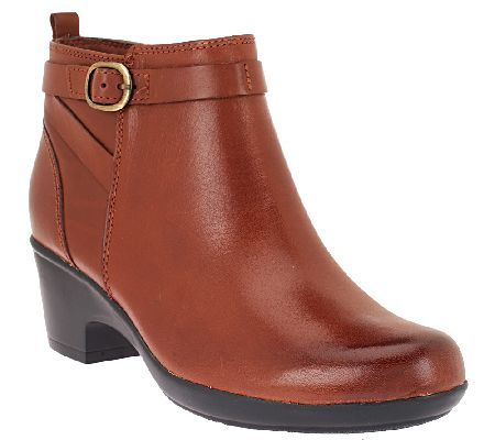 clarks leather ankle boots w buckle detail malia