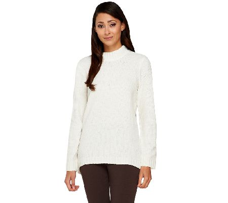 Denim & Co. Chenille Mock Neck Long Sleeve Sweater