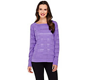 cee bee CHERYL BURKE Long Sleeve Pointelle Top - A264190