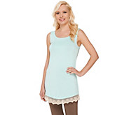 LOGO Layers by Lori Goldstein Regular Knit Tank with Lace Trim - A264590