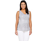 Kelly by Clinton Kelly Printed Sequin Tank - A266490