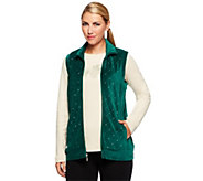 As Is Quacker Factory Sparkle Velour Vest w/ Rhinestud Long Sleeve Tee - A267790