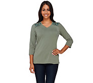 Denim & Co. 3/4 Sleeve V-Neck Top with Shoulder Embroidery - A267890