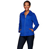 Quacker Factory Rhinestone Zip Front Fleece Jacket - A271090