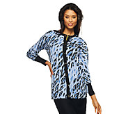 As Is Bob Mackies Long Sleeve Leopard Print Button Front Cardigan - A272090