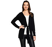 H by Halston Tie-Front Long Sleeve Knit Cardigan - A273290