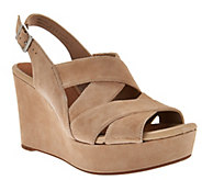 Clarks Artisan Suede Criss-cross Strap Wedges - Amelia Alice - A273590