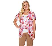 Tashon Cap Sleeve Watercolor Chiffon Kimono Wrap - A273990