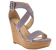 Marc Fisher Leather or Suede Buckle Espadrille Wedges - Haely - A274290