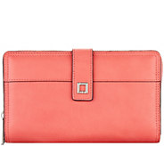 LODIS Italian Leather Large RFID Checkbook Zip Wallet - A277890
