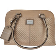 Tignanello Pebble Leather Woven Embossed RFID Dome Satchel