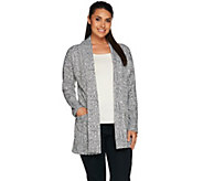 LOGO by Lori Goldstein Open Front Knit Jacquard Cardigan - A279390