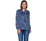 C. Wonder Tie Neck Floral Print Button Front Blouse - A280090