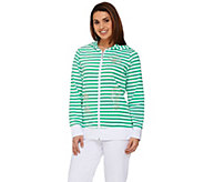 As Is Quacker Factory Striped Zip Front Jacket and Capri Pants Set - A285090