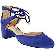 Isaac Mizrahi Live! Suede Lace Up Pump with Block Heel - A287190