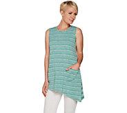 LOGO by Lori Goldstein Sweater Knit Striped Tank w/ Contrast Back - A290490