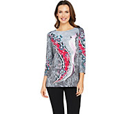 Bob Mackies 3/4 Sleeve Cockatoo Floral Printed Knit Top - A290590
