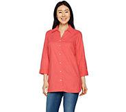 Belle by Kim Gravel Stretchabelle 3/4 Sleeve Linen Shirt - A291190