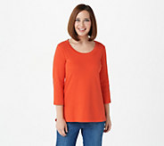 Isaac Mizrahi Live! Essentials Pima Cotton 3/4 Sleeve Top - A300290