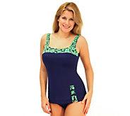 Fit 4 U Cs Abstract Roses Retro Sheath Swimsuit - A332190