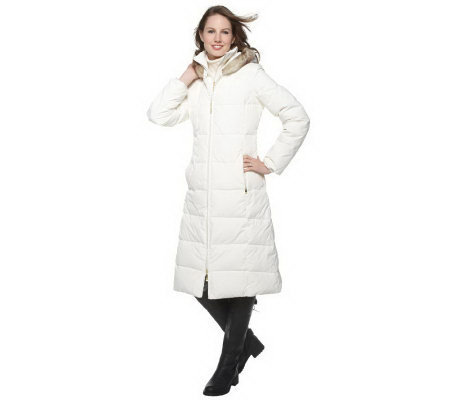 Ellen by Ellen Tracy Long Down Coat with Hood