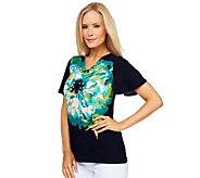 Susan Graver Liquid Knit Floral Placement Print Drape Neck Top - A222191