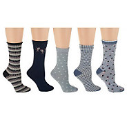 Passione Set of 5 Cotton Blend Wardrobe Crew Socks - A232891