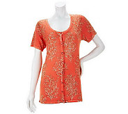 Quacker Factory Coral Printed Short Sleeve Cardigan - A233491