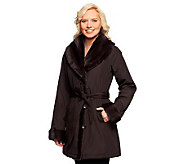 Dennis Basso Platinum Collection Water Resistant & Faux Fur Coat - A236891