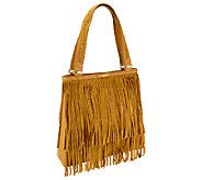B.Makowsky Sienna Pebble Leather and Suede Tote with Fringe - A237191