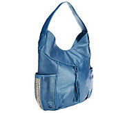 Muxo by Camila Alves Shimmer Leather Hobo Bag w/ Bead Details - A239391