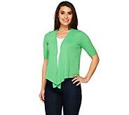 Denim & Co. Short Sleeve Open Front Sweater Knit Shrug - A252691