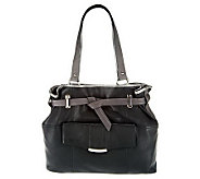 As Is B. Makowsky Leather Belted Tote Bag with Front Pocket - A252991