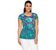 Isaac Mizrahi Live! Safari Floral Printed Knit Top - A254791