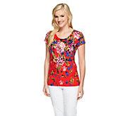 Isaac Mizrahi Live! Safari Floral Printed Knit Top - A254791