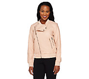 Lisa Rinna Collection Asymmetric Zip Faux Leather Bomber Jacket - A262991
