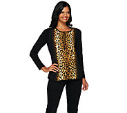Susan Graver Printed Feather Weave with Solid Liquid Knit Top - A269291