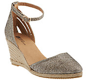 As Is White Mountain Espadrille Wedges w/ Ankle Strap - Cicso - A270991