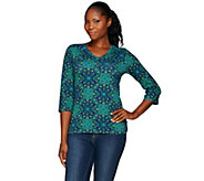 Denim & Co. Medallion Printed Jersey 3/4 Sleeve V-neck Top - A271291