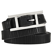 H by Halston Lizard Embossed Leather Belt with H Buckle - A272191