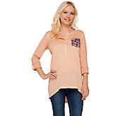 As Is LOGO by Lori Goldstein Henley Top with Chest Pocket Detail - A273091