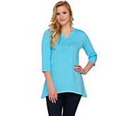Quacker Factory Studded Sparkle Trapeze Hem 3/4 Sleeve Tunic - A273891