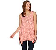 C. Wonder Printed Knit Hi-Low Hem Tank Top with Picot Trim - A277491