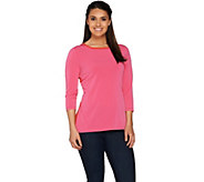 Susan Graver Liquid Knit 3/4 Sleeve Colorblock Top - A277791