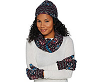 Cuddl Duds Fleecewear & Micro Plush Reversible Hat, Gloves, & Scarf - A281991
