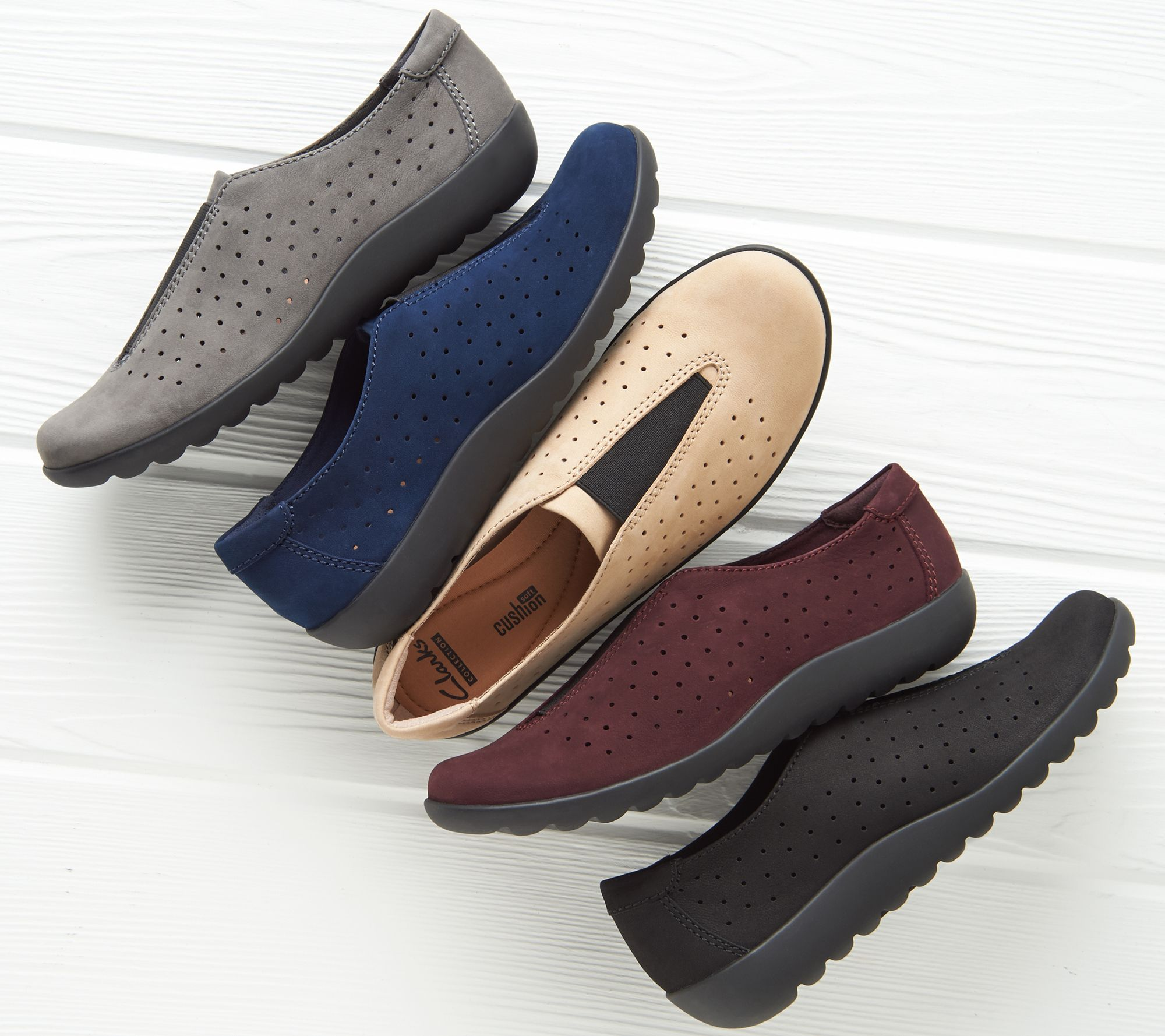 Clarks Perforated Nubuck Leather Slip-On Shoes - Medora Gemma - Page 1 —  QVC.com