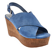 As Is Marc Fisher Leather Cross-Band Back-Strap Wedges - Sesame - A284691